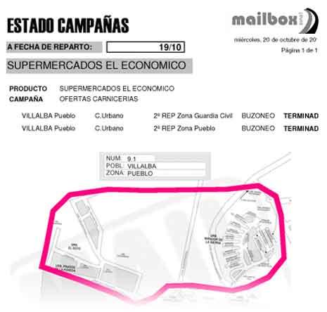 Buzoneo de publicidad en Madrid Collado Villalba. Informe de reparto Mailbozona1